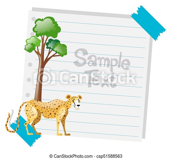 Paper template with cheetah in background illustration clip art ...