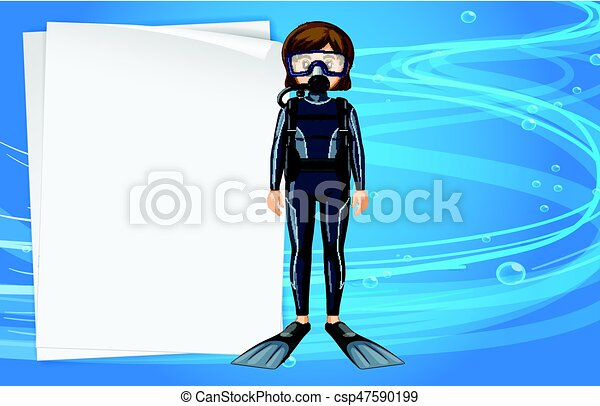 Paper Template With Girl In Scuba Diving Outfit