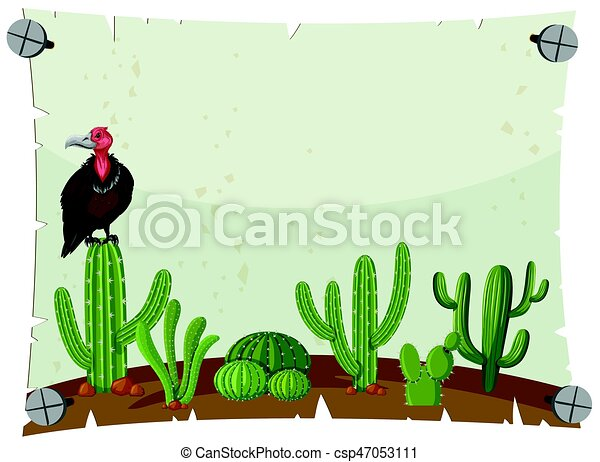 paper template with vulture in cactus garden illustration