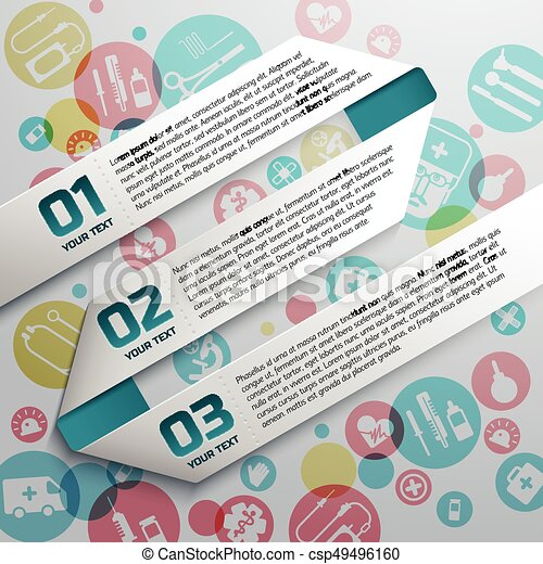 Paper Text Ribbons At Medical Background - csp49496160