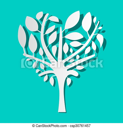 Paper Tree on Blue Background Vector - csp30761457