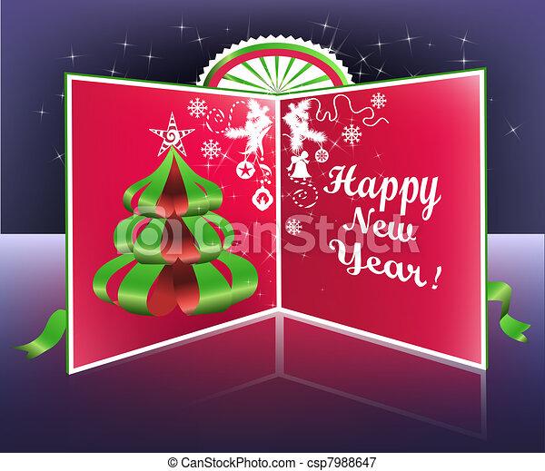 Paper tree postcard - csp7988647
