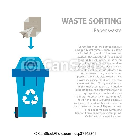 Paper waste sorting flat concept. - csp37142345