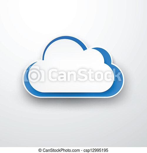 Paper white-blue cloud on white. - csp12995195
