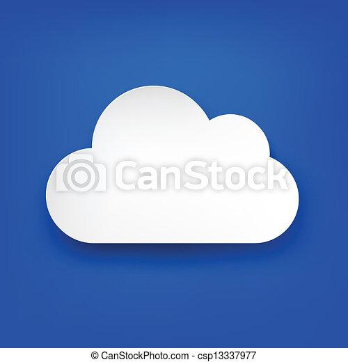 Paper white cloud on blue. - csp13337977