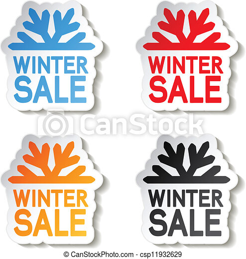paper winter sale, sticker - Christmas offer - csp11932629
