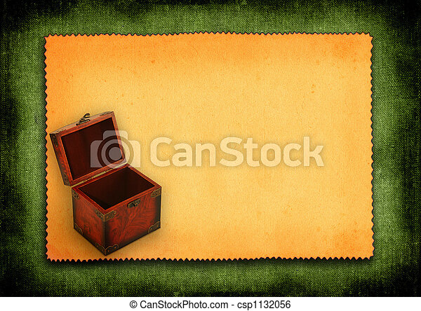 paper with antique wooden trunk - csp1132056