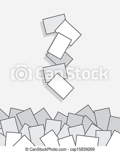 Papers falling pile. Papers falling into large pile.