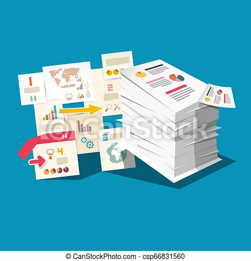 Paperwork Concept with Business Documents and Stak of Paper. Vector Taxes or Infographic Design. - csp66831560