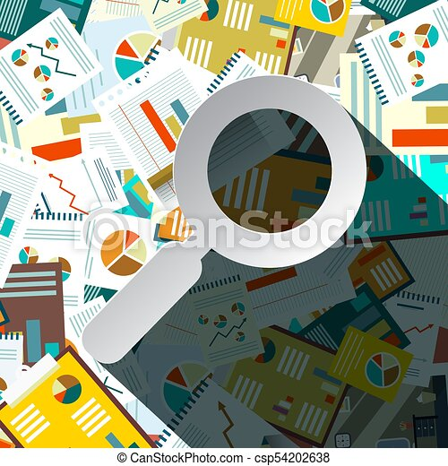 Paperwork Pilee with Paper Magnifying Glass - Vector - csp54202638