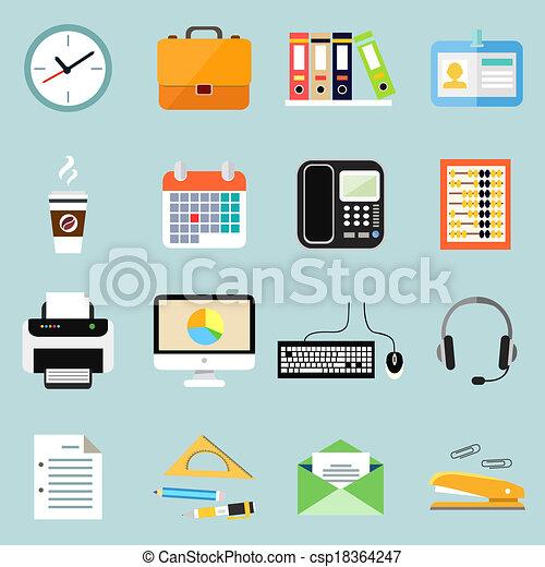 papeterie, ensemble, bureau affaires, icônes - csp18364247