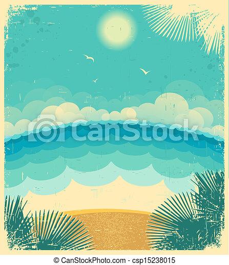 papier, altes , hintergrund, meer, sonne, abbildung, texture., seascape., vektor, weinlese - csp15238015