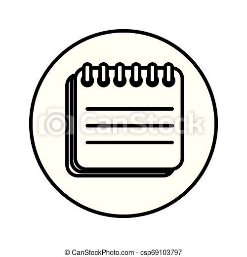 papier, bloc-notes, isolé, icône - csp69103797