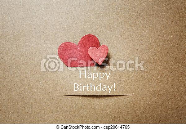 Papier Cœurs Carte Anniversaire Heureux Anniversaire Papier Rouges Cœurs Message Carte Heureux Canstock