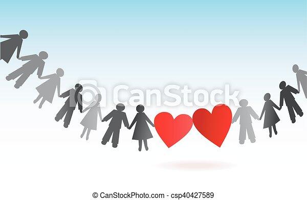 papier, cœurs, hommes, chaîne, femmes - csp40427589