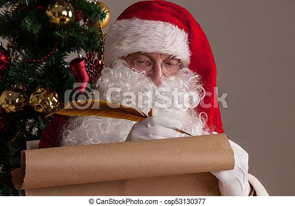 papier, claus, vieux, santa, écriture - csp53130377