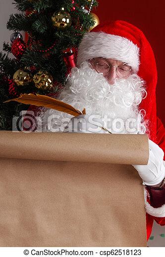 papier, claus, vieux, santa, écriture - csp62518123