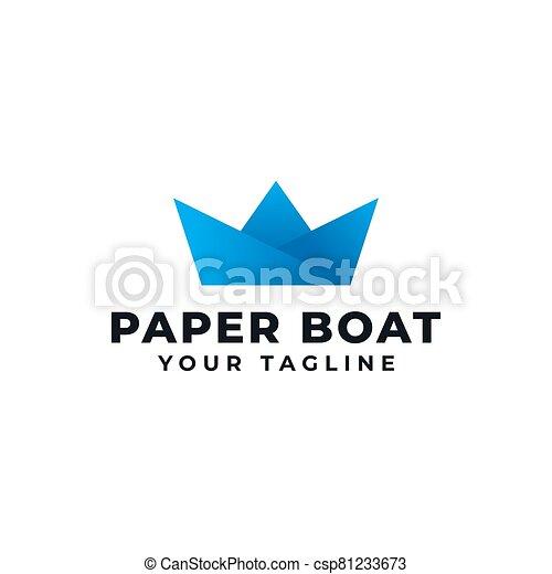 Papier Conception Origami Bateau Bateau Logo Canstock