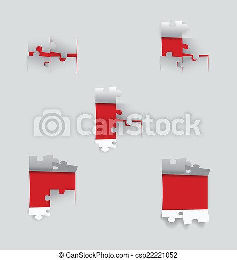 papier, coupure, illustration., vecteur, puzzle. - csp22221052