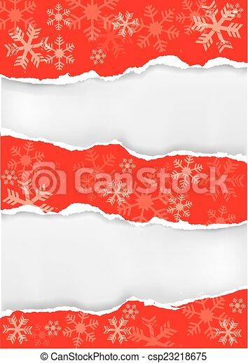 papier, dos, noël, rouges, déchiré, grung - csp23218675