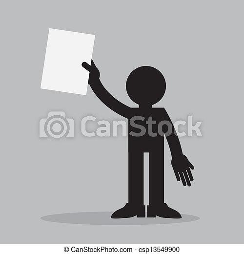 papier, figura, przytrzymując - csp13549900