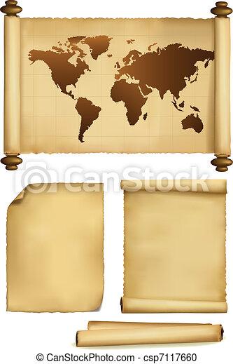 papier, kaart, set, oud, bladen - csp7117660