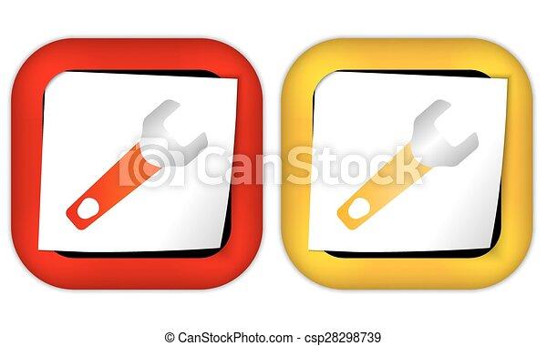 papier, moersleutel, set, twee, iconen - csp28298739