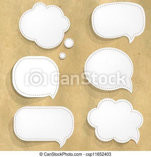 papier, mowa, biały, tektura, bańki, budowa - csp11652403