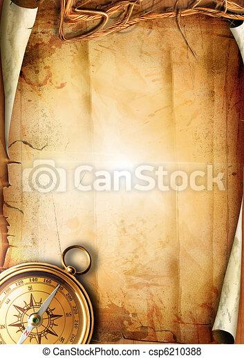 papier, oud, textuur, kompas - csp6210388