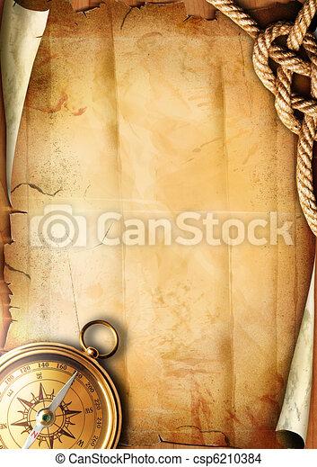 papier, oud, textuur, kompas - csp6210384
