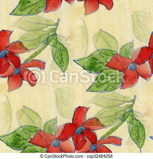 Papier Peint Fait Main Seamless Aquarelle Vert Perce Neige