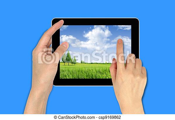papier peint, main, touchpad, tenue, mâle, paysage - csp9169862