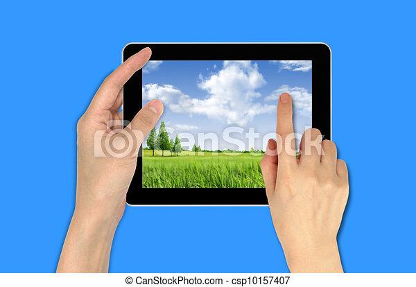papier peint, main, touchpad, tenue, mâle, paysage - csp10157407