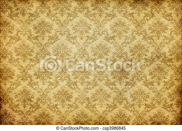 papier peint, vieux, damassé - csp3986845