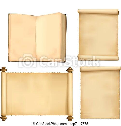 papier, set, oud, boek, bladen - csp7117675