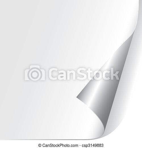 papier, ufryzowany, róg, (vector) - csp3149883
