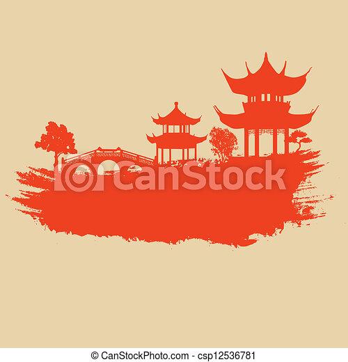 papier, vieux, asiatique, paysage - csp12536781