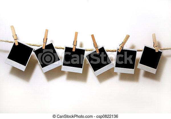 papieren, polaroid, ouderwetse , hangend, witte  - csp0822136