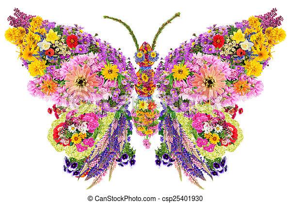 papillon, été, fleurs - csp25401930