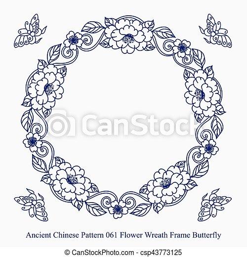 Papillon Ancien Chinois Modèle Cadre Couronne Fleur