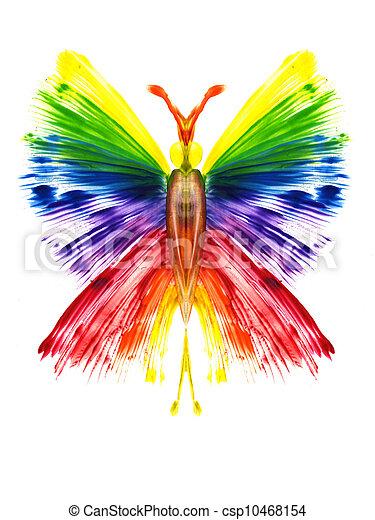 papillon, arc-en-ciel, aquarelle, formulaire - csp10468154
