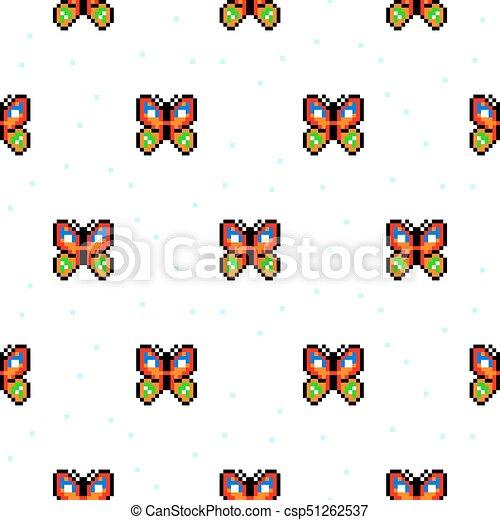 Papillon Art Pattern Seamless Dessin Animé Clair Pixel
