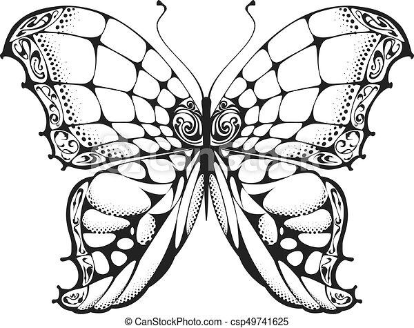 papillon blanc noir dessin papillon drawing isol illustration vecteur noir blanc. Black Bedroom Furniture Sets. Home Design Ideas