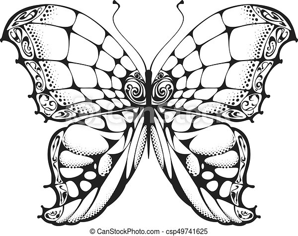 papillon blanc noir dessin csp49741625 - Papillon Dessin