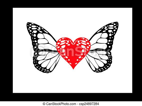 Papillon Coeur Ailes Utilise Tatouage Conception Boite Etre Canstock