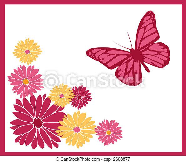 Papillon Couleurs Fleurs Fichier Eps Illustration Sien