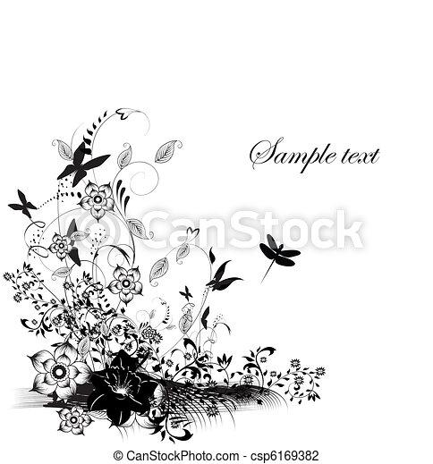 papillon, dekoration, verschieden, blumen, abbildung - csp6169382
