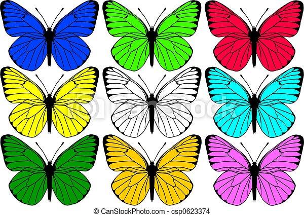 Dessin Papillon En Couleur couleur, papillons, groupe.