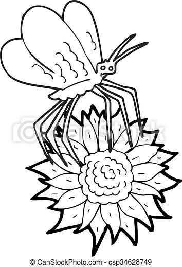 Papillon Fleur Blanche Noir Dessin Animé