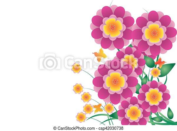 Papillon Fleur Rose Papier Couleur Vecteur Fond